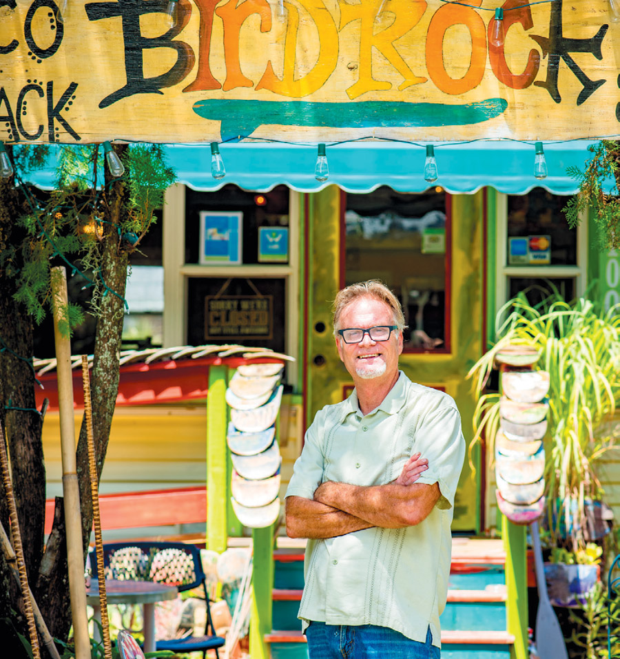Chef David Shiplett posing outside Birdrock Taco Shack - Photo by Peter Acker Edible Sarasota